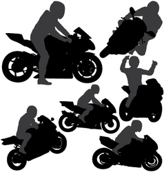 Motorcycle Rider Silhouettes vector image vector image