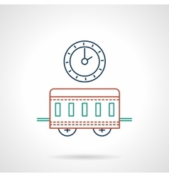 Railway station flat color line icon vector image vector image