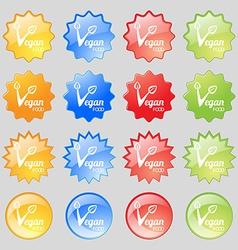 Vegan food graphic design icon sign Big set of 16 vector image vector image