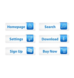 Web Buttons with Blue Bookmarks and Six Icons vector image