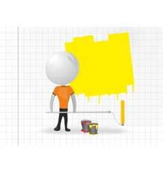 white men with paint roller vector image