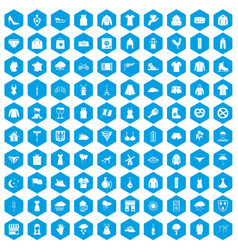 100 clothing icons set blue vector image