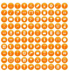 100 events icons set orange vector image