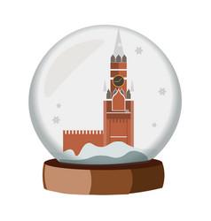 A realistic snow globe with a kremlin vector