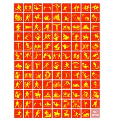 A Set of Yellow and Red Sport Icons vector image