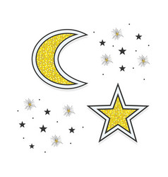 Abstract golden moon and stars icons on white vector