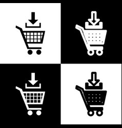 add to shopping cart sign black and white vector image