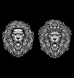 Angry lion head with crown vector