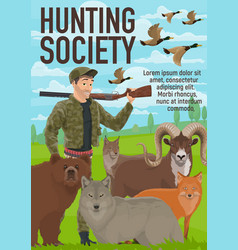 Animals hunting open season hunter club vector