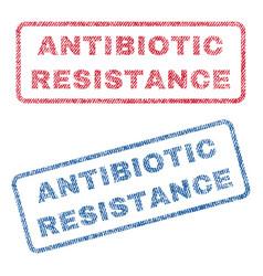 Antibiotic resistance textile stamps vector