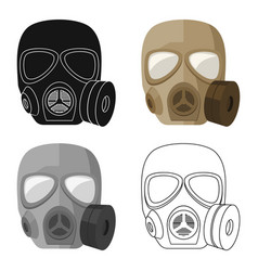 Army gas mask icon in cartoon style isolated on vector
