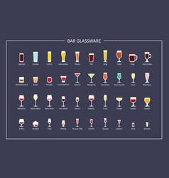 Bar glasses types guide flat icons on dark vector