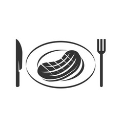 barbecue beef knife fork logo template badge vector image