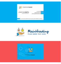 beautiful emoji in hands logo and business card vector image