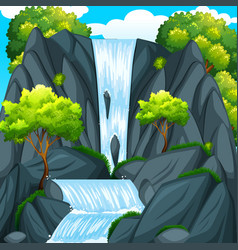 beautiful waterfall and green trees vector image