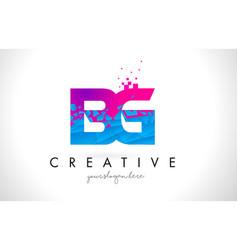 bg b g letter logo with shattered broken blue vector image