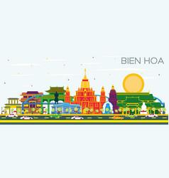 Bien hoa vietnam city skyline with color vector