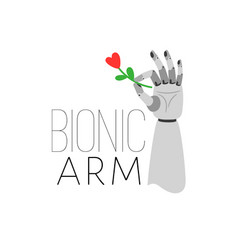 bionic arm holding flower vector image