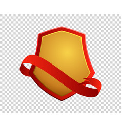 blank red and gold shield and ribbon vector image