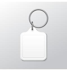 Blank Square Keychain with Ring and Chain for Key vector image