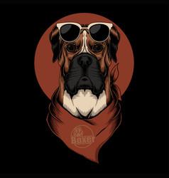 Boxer dog bandana vector