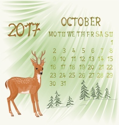Calendar October 2017 and young deer vector