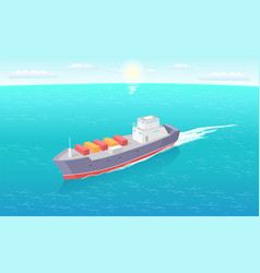 cargo ship leaves trace in sea marine vessel icon vector image