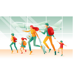cartoon family in hurry airport terminal window vector image