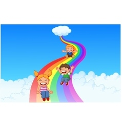 Cartoon little kids playing slide rainbow vector