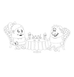 Children near table isolated contour vector image