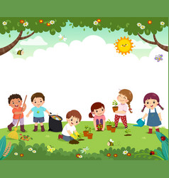 children work together to improve environment vector image