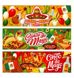 cinco de mayo mexican flag sombrero and tequila vector image