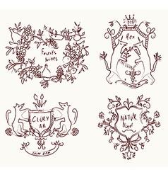 Coats of arms set - retro design in sketch vector