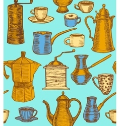 coffee colorful background with utensils vector image