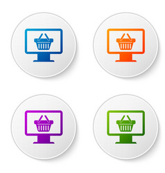 color computer monitor with shopping basket icon vector image