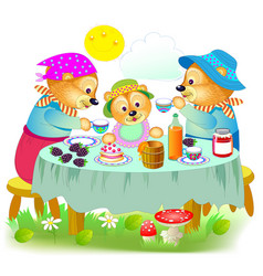 Cover for children book happy family three vector