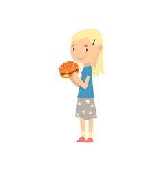 Cute blonde girl eating hamburger child enjoying vector
