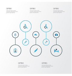 Drug colorful icons set collection of ambulance vector