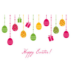 easter greeting card with hanging eggs vector image