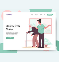 elderly with caregiver or nurse vector image