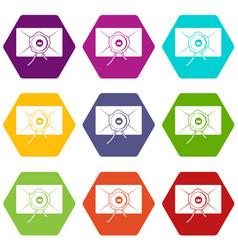 envelope with wax seal icon set color hexahedron vector image