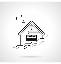 Flat black line house in snow icon vector