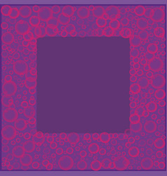 Frame with pink soap or soda bubbles on violet vector