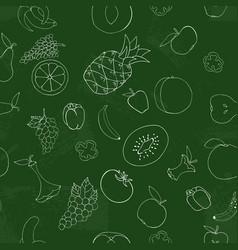 fruits and vegetables are drawn in chalk on a vector image
