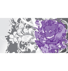 funny monsters with floral vector image