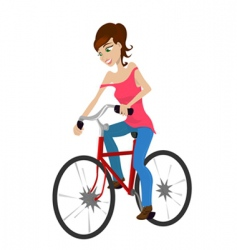 Girl riding a bicycle vector