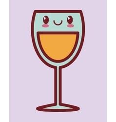 Glass of wine kawaii icon image vector