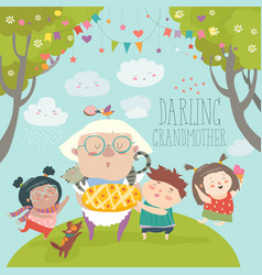 Granny and her grandchildren with cake vector