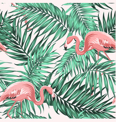 Green tropical jungle leaves ping flamingo couple vector