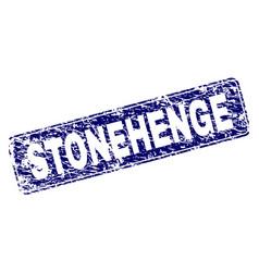 grunge stonehenge framed rounded rectangle stamp vector image